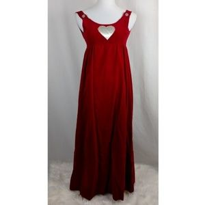 SOLD- VINTAGE 70s Red Velvet Maxi Jumper Dress